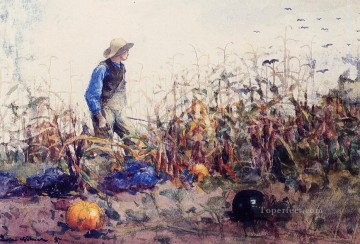 aka works - Among the Vegetables aka Boy in a Cornfield Realism painter Winslow Homer