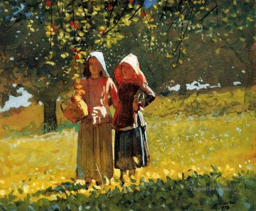 Girls Canvas - Apple Picking aka Two Girls in sunbonnets or in the Orchard Realism painter Winslow Homer