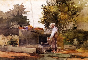 Winslow Homer Painting - At the Well Realism painter Winslow Homer
