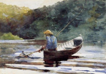 Winslow Homer Painting - Boy Fishing Realism marine painter Winslow Homer