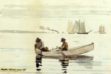 marine Oil Painting - Boys Fishing Gloucester Harbor Realism marine painter Winslow Homer