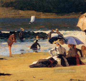 Winslow Homer Painting - By the Shore Realism marine painter Winslow Homer