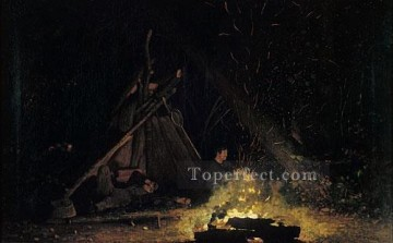 Winslow Homer Painting - Camp Fire Realism painter Winslow Homer