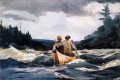Canoe in the Rapids Realism marine painter Winslow Homer
