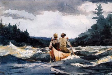 marine Canvas - Canoe in the Rapids Realism marine painter Winslow Homer