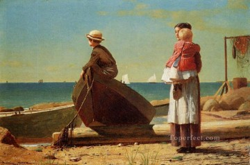 marine Oil Painting - Dads Coming Realism marine painter Winslow Homer