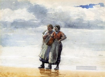 marine Oil Painting - Daughters of the Sea Realism marine painter Winslow Homer