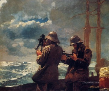 marine Oil Painting - Eight Bells Realism marine painter Winslow Homer