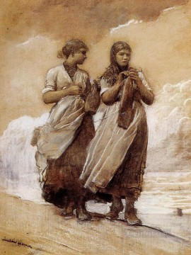 Girls Canvas - Fishergirls on Shore Tynemouth Realism painter Winslow Homer