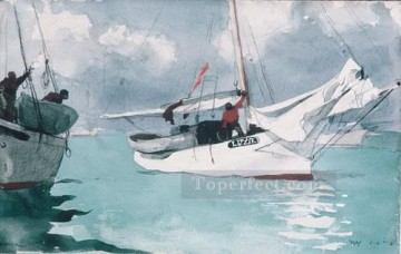 marine Oil Painting - Fishing Boats Key West Realism marine painter Winslow Homer