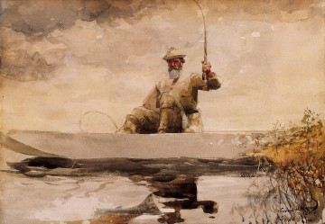 Winslow Homer Painting - Fishing in the Adirondacks Realism marine painter Winslow Homer