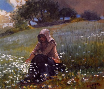Winslow Homer Painting - Girl and Daisies Realism painter Winslow Homer