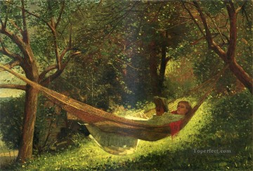 Winslow Homer Painting - Girl in a Hammock Realism painter Winslow Homer