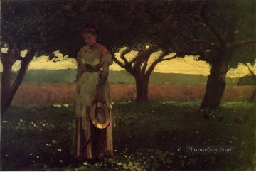 realism - Girl in the Orchard Realism painter Winslow Homer