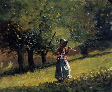 realism - Girl with a Hay Rake Realism painter Winslow Homer