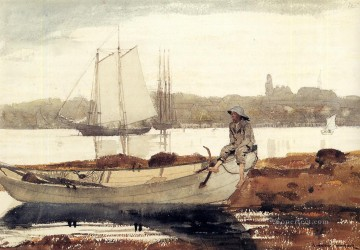 Winslow Homer Painting - Gloucester Harbor and Dory Realism marine painter Winslow Homer