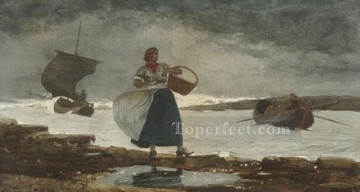 marine Canvas - Inside The bar Realism marine painter Winslow Homer