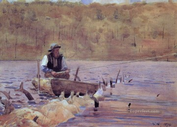 Winslow Homer Painting - Man in a Punt Fishing Realism painter Winslow Homer