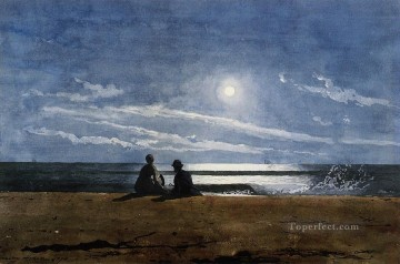 marine Canvas - Moonlight Realism marine painter Winslow Homer