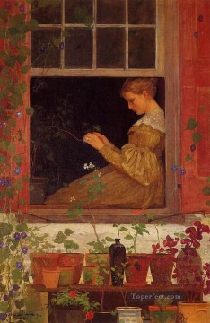 Winslow Homer Painting - Morning Glories Realism painter Winslow Homer
