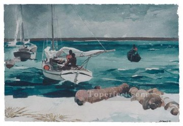 marine Oil Painting - Nassau Realism marine painter Winslow Homer