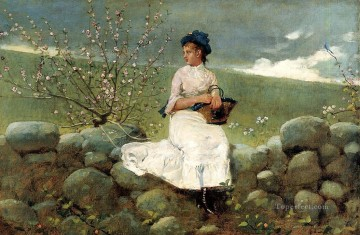 Winslow Homer Painting - Peach Blossoms Realism painter Winslow Homer