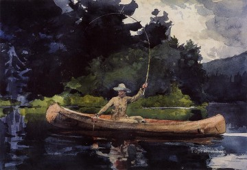 marine Canvas - Playing Him aka The North Woods Realism marine painter Winslow Homer