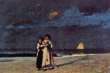 beach Art - Promenade on the Beach Realism painter Winslow Homer