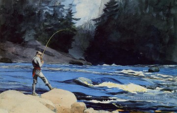 marine Oil Painting - Quananiche Lake St Realism marine painter Winslow Homer