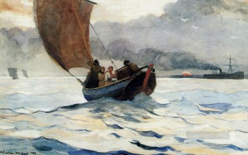 marine Canvas - Returning Fishing Boats Realism marine painter Winslow Homer