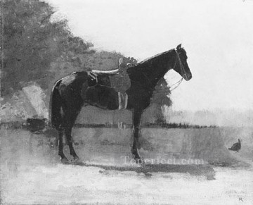 Winslow Homer Painting - Saddle Horse In Farm Yard Realism painter Winslow Homer