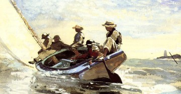 boat art painting - Sailing the Catboat Realism marine painter Winslow Homer