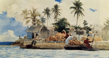 marine Oil Painting - Sponge Fishing Nassau Realism marine painter Winslow Homer