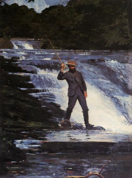 marine Oil Painting - The Angler Realism marine painter Winslow Homer