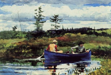 Boat Painting - The Blue Boat Realism marine painter Winslow Homer