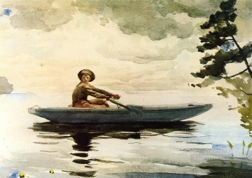 Boat Painting - The Boatsman Realism marine painter Winslow Homer