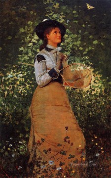 The Butterfly Girl Realism painter Winslow Homer Oil Paintings