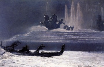 marine Canvas - The Fountains at Night Worlds Columbian Exposition Realism marine painter Winslow Homer
