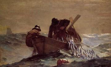 marine Oil Painting - The Herring Net Realism marine painter Winslow Homer