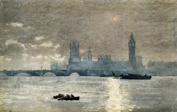 marine Canvas - The Houses of Parliament Realism marine painter Winslow Homer