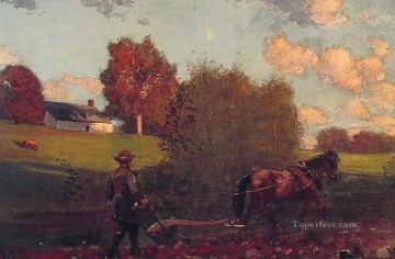 Row Painting - The Last Furrow Realism painter Winslow Homer