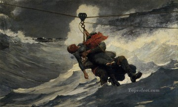 marine Oil Painting - The Life Line Realism marine painter Winslow Homer