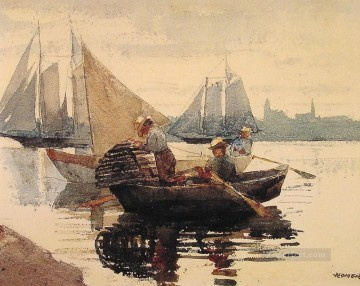 marine Canvas - The Lobster Pot Realism marine painter Winslow Homer