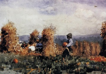 Winslow Homer Painting - The Pumpkin Patch Realism painter Winslow Homer