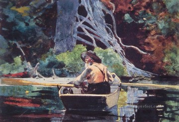 marine Canvas - The Red Canoe Realism marine painter Winslow Homer