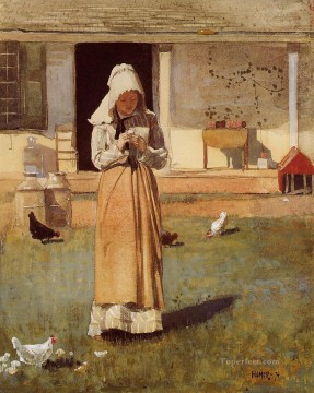 chicken Painting - The Sick Chicken Realism painter Winslow Homer