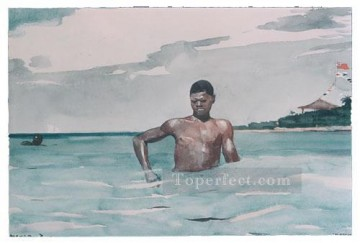 marine Oil Painting - The bather Realism marine painter Winslow Homer