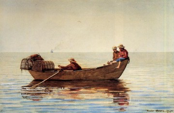 marine Canvas - Three Boys in a Dory with Lobster Pots Realism marine painter Winslow Homer