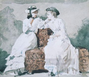 Winslow Homer Painting - Two Ladies Realism painter Winslow Homer
