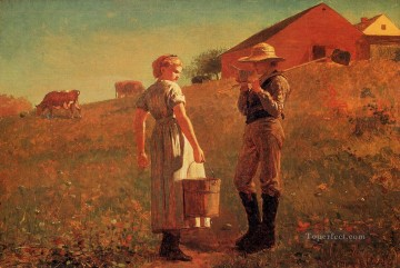 aka Works - A Temperance Meeting aka Noon Time Realism painter Winslow Homer